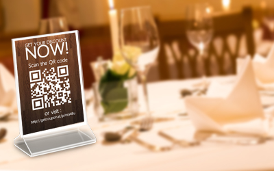 tabletalker with QR code and mobile coupon