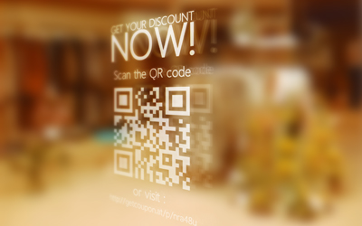 Window Sticker with QR code and mobile coupon